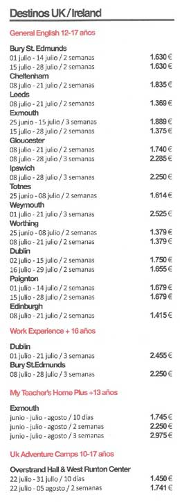 Verano en Inglaterra - lista de precios
