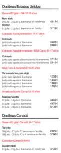 Precios Verano en Canadá y Estados Unidos