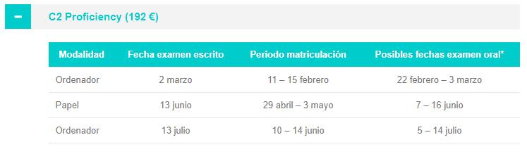 06 - C2 convocatorias Cambridge Málaga 2019 UMA