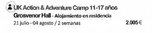 Campamento de acción y aventura