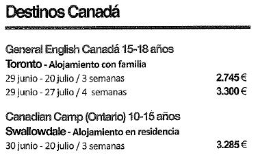 Precios Canadá